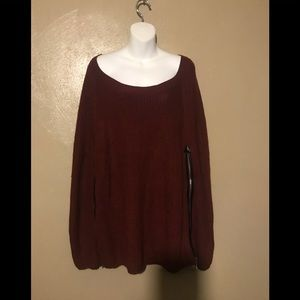 Ashley Stewart sweater poncho size 3X, burgundy
